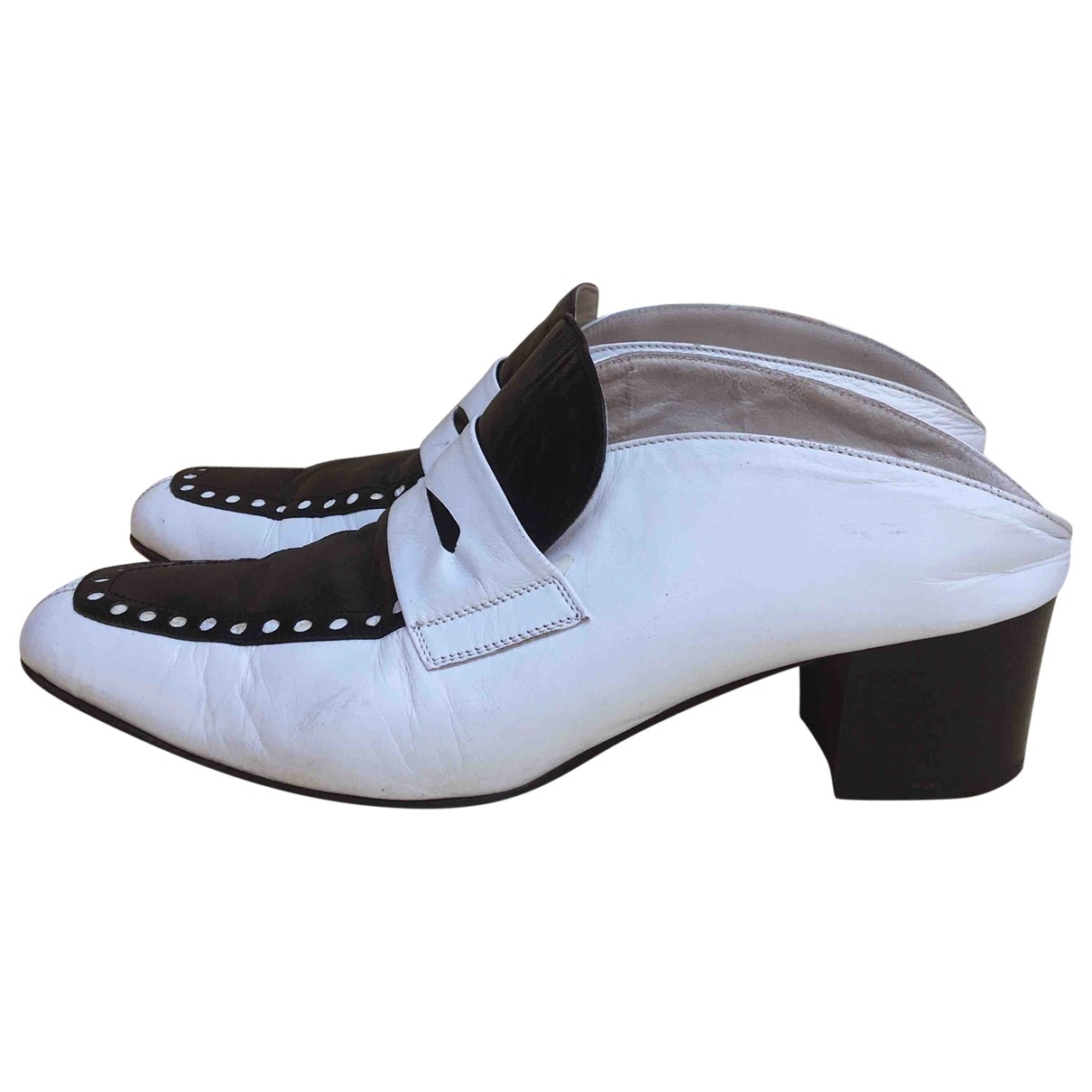 Non Signé / Unsigned \N White Leather Mules & Clogs for Women 37 EU