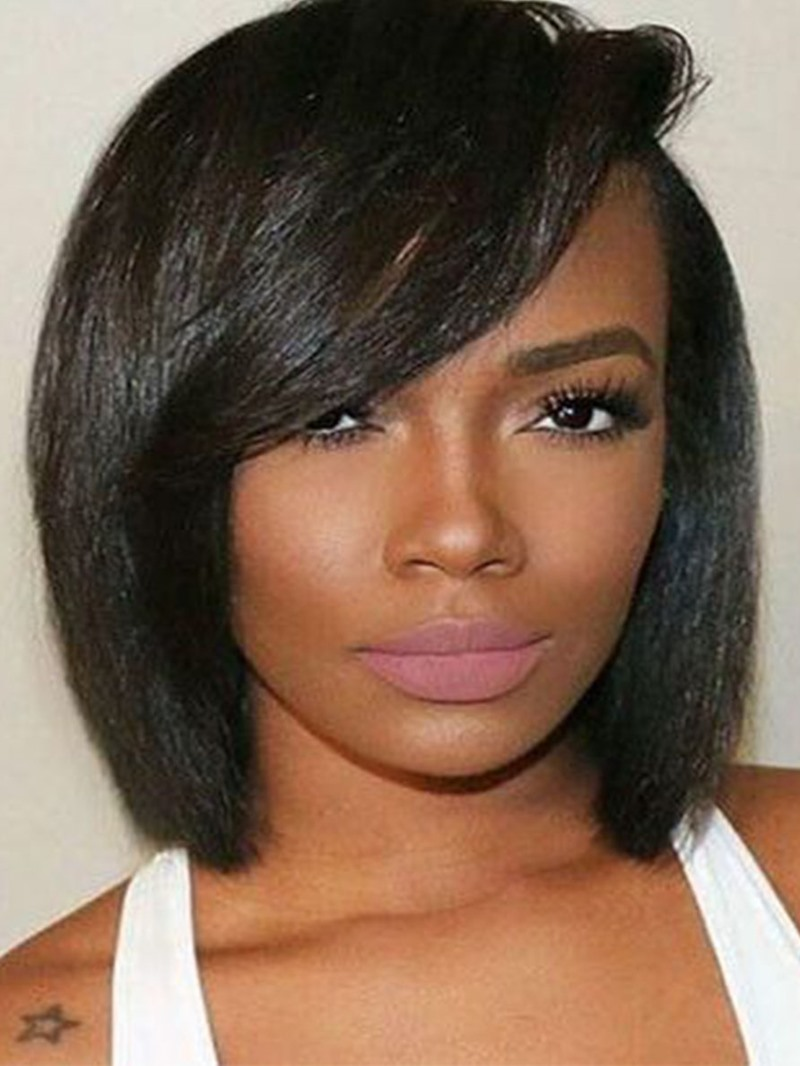 Ericdress Short Bob Hairstyles Side Part Wigs With Bangs Straight Synthetic Hair Capless Wigs For African American 12Inch