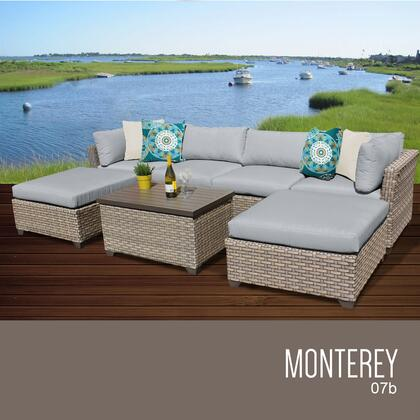 MONTEREY-07b-GREY Monterey 7 Piece Outdoor Wicker Patio Furniture Set 07b with 2 Covers: Beige and