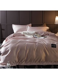 Solid Fresh Pink Princess Style Silky 4-Piece Bedding Sets/Duvet Cover