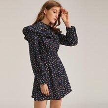 Ruffle Trim Ditsy Floral & Dot Print Shirt Dress