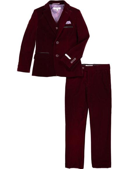 Mens Velvet Fabric Burgundy Suit Jacket & Pants (no vest included)