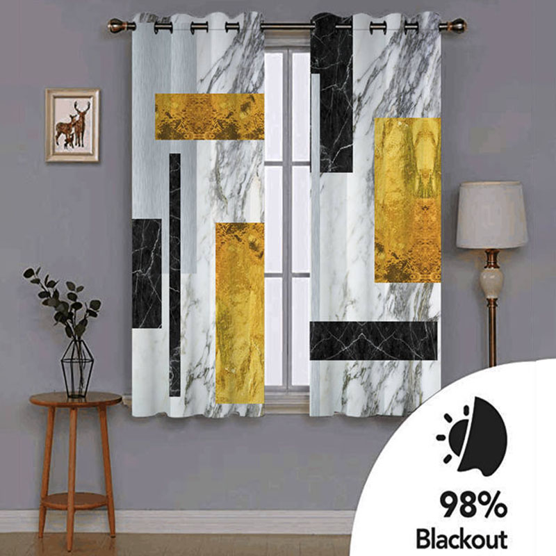 Modern 3D Creative Curtain Blackout Decoration 2 Panels Drapes for Living Room Thick Shading Polyester for Good Privacy Heat Insulation and Windproof