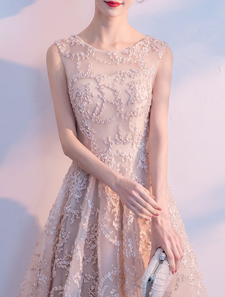 Milanoo Short Graduation Dresses Nude Lace High Low Prom Dress Sleeveless Cocktail Party Dress