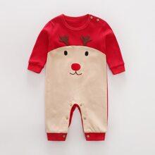 Baby Boy Contrast Panel Christmas Print Jumpsuit