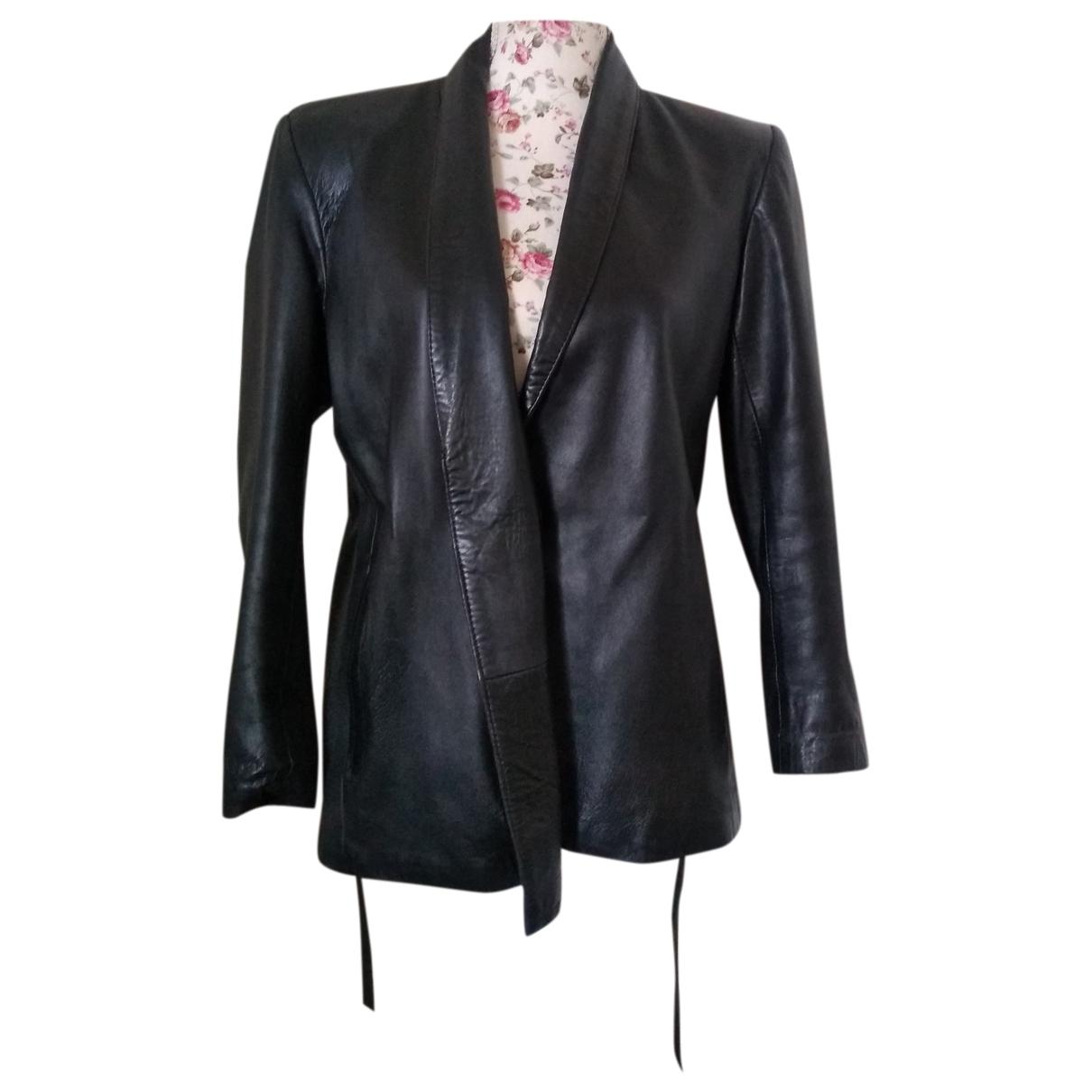 Yves Saint Laurent - Veste   pour femme en cuir - noir