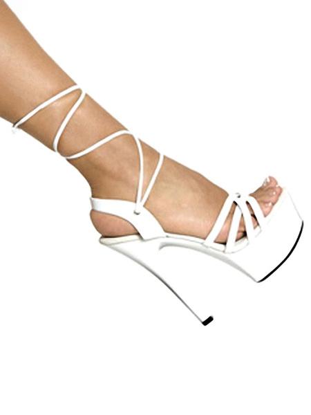 Milanoo Sandalias sexy negras Plataforma de mujer Punta abierta con cordones Zapatos sexy de tacon alto