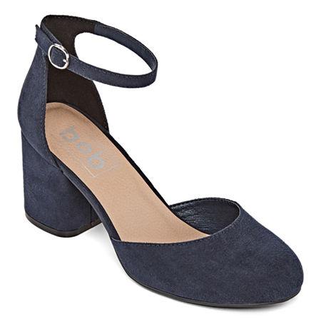 Pop Womens Gal Pumps Block Heel, 6 1/2 Medium, Blue