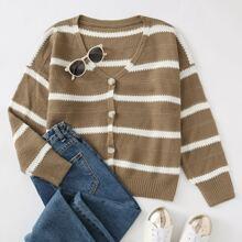 Drop Shoulder Striped Cardigan