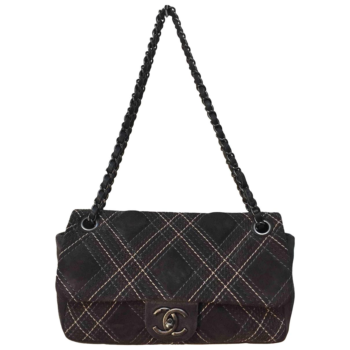 Chanel Timeless/Classique Handtasche in  Grau Veloursleder