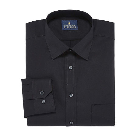 Stafford Mens Travel Easy-Care Broadcloth Stretch Regular Fit Dress Shirt, 15.5 32-33, Black
