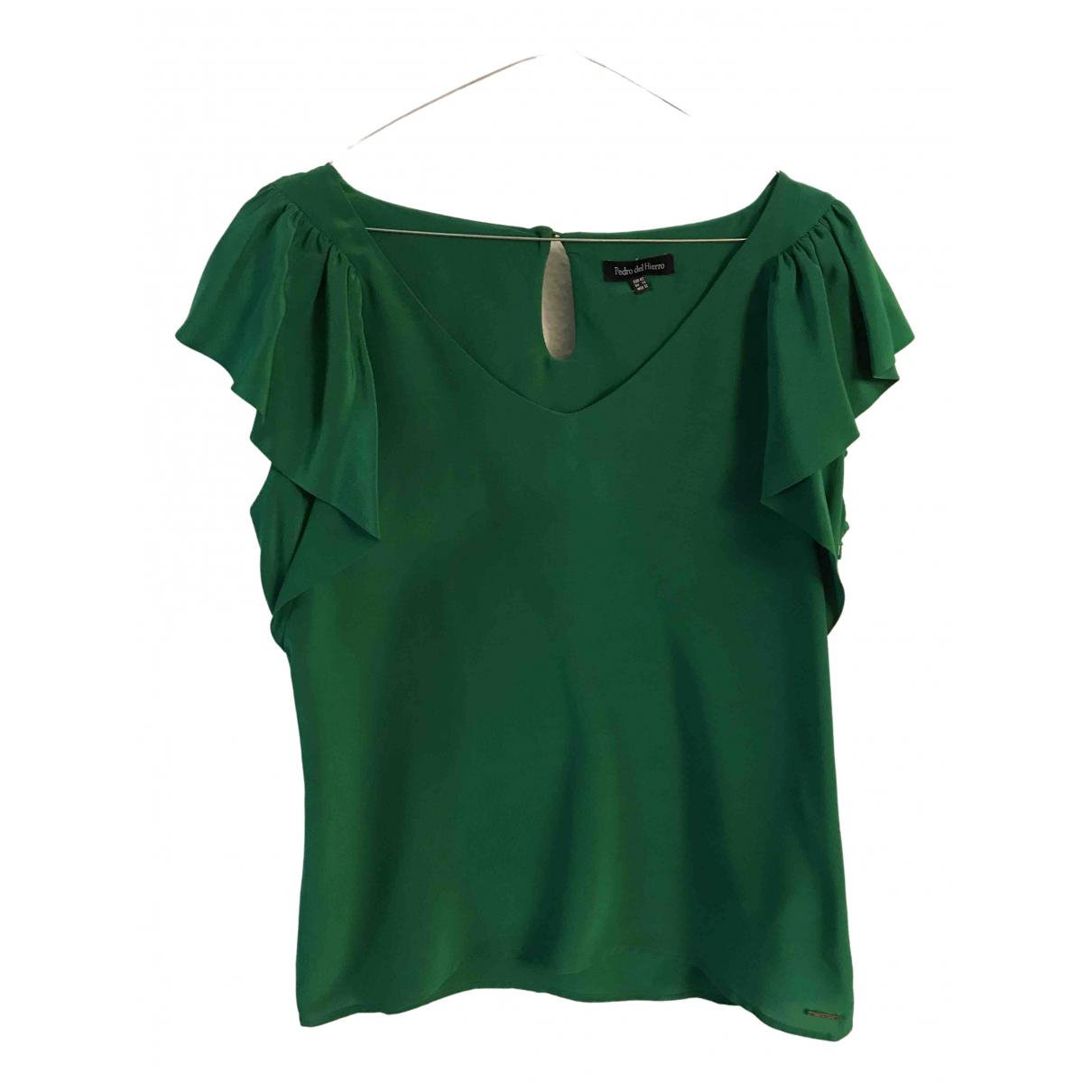 Pedro Del Hierro - Top   pour femme en soie - vert