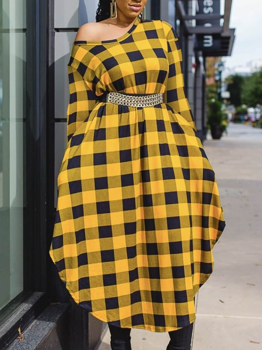 LW Lovely Casual Plaid Print Patchwork Asymmetrical Yellow Ankle Length Dress