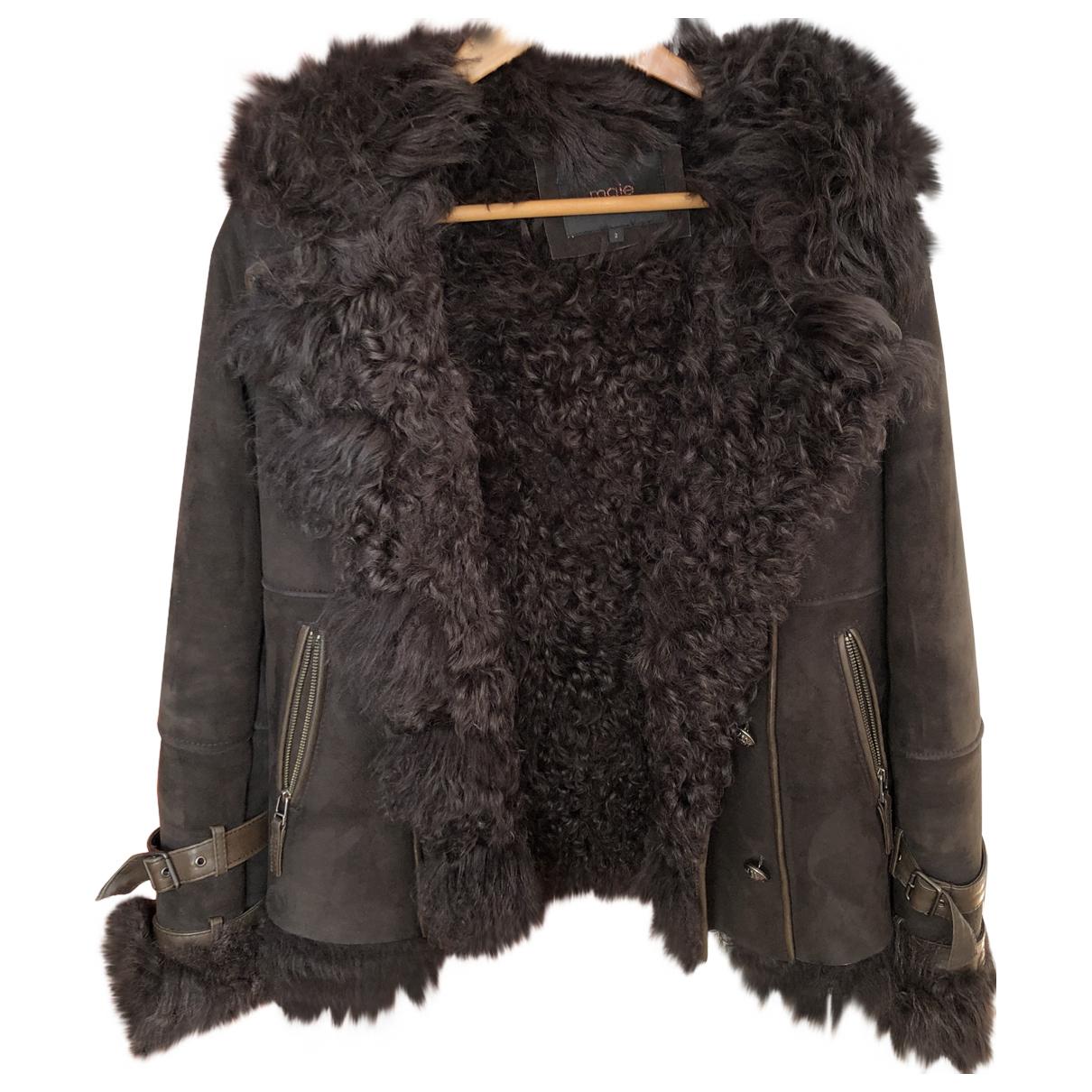 Maje Fall Winter 2019 Brown Mongolian Lamb Leather jacket for Women 38 FR