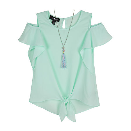 by&by girl Big Girls Crew Neck Short Sleeve Blouse, Small , Green