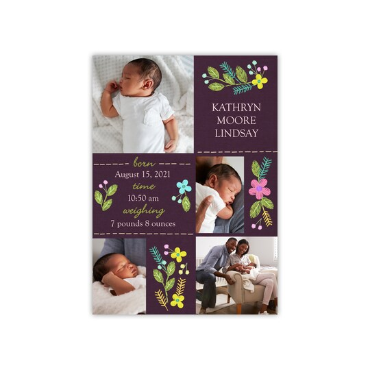 20 Pack of Gartner Studios® Personalized Floral Filigree Flat Baby Announcement in Eggplant   5