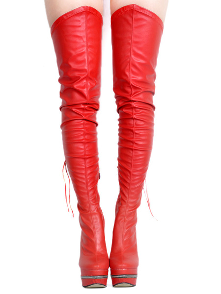 Milanoo Red Sexy Boots Over Knee Women's Platform Round Toe Zip Up Thigh High Boots