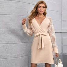 Lace Sleeve Split Thigh Belted Dress