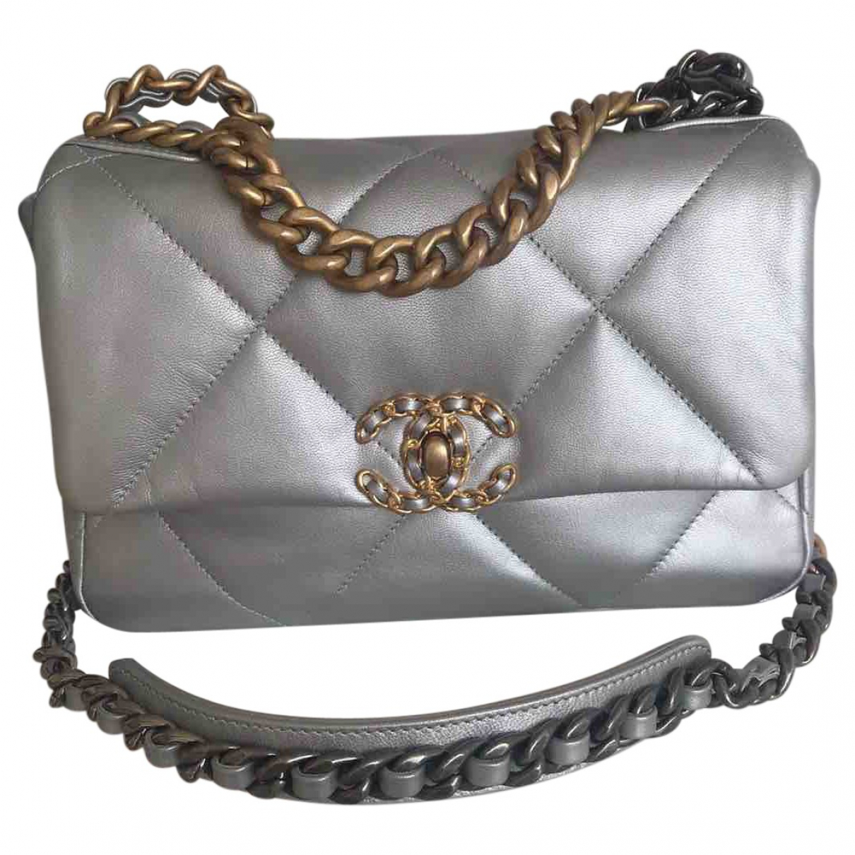 Chanel - Sac a main Chanel 19 pour femme en cuir - argente