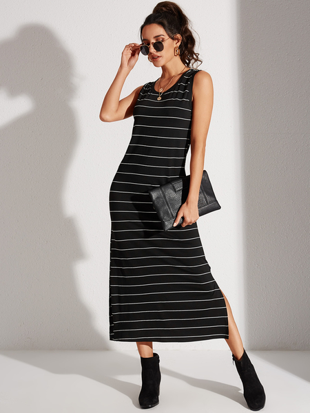 YOINS Black Striped Slit Hem Round Neck Sleeveless Dress