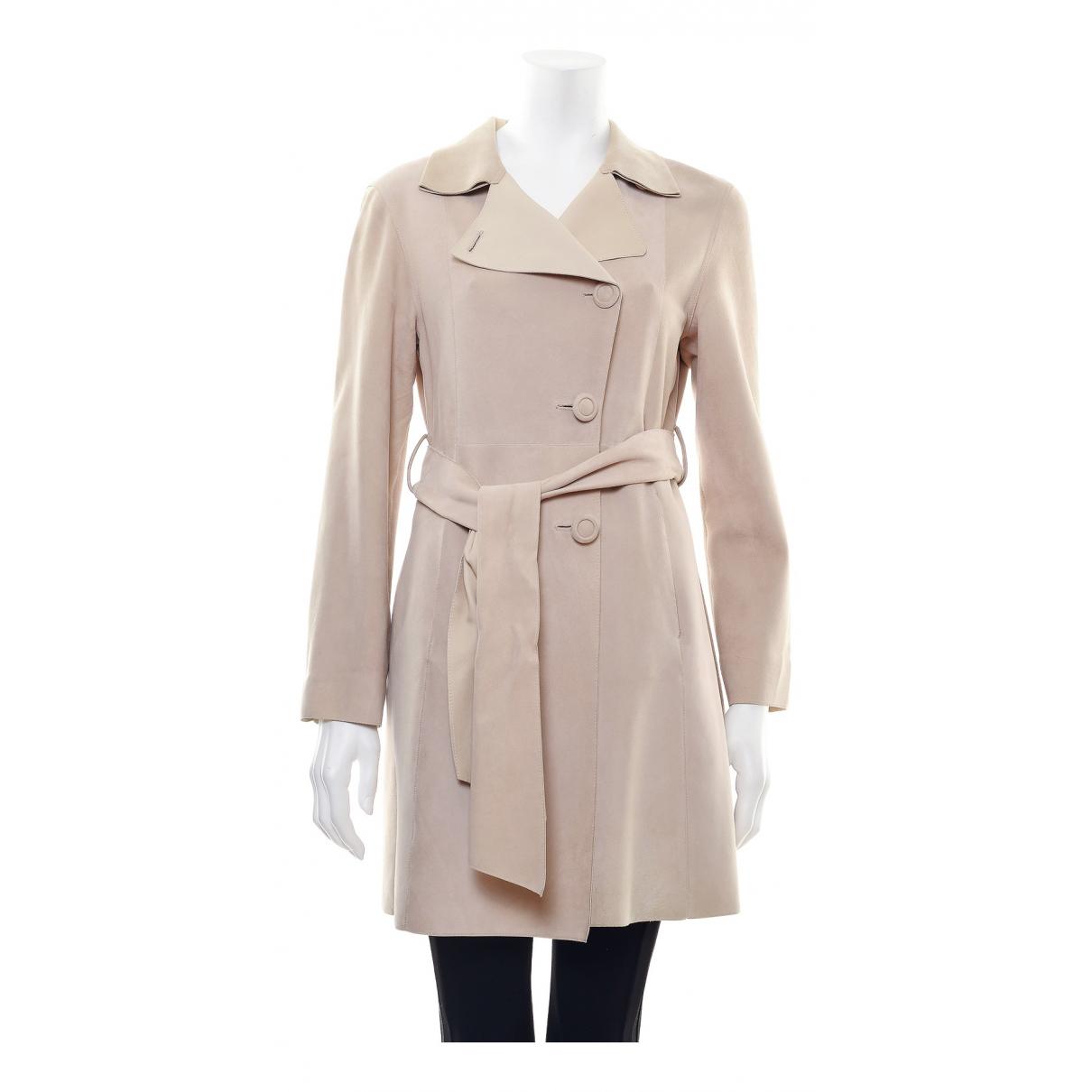Giorgio Armani - Manteau   pour femme en cuir - beige