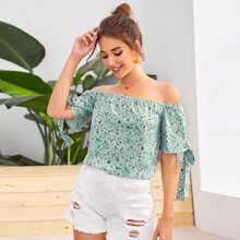 Off Shoulder Knot Cuff Ditsy Floral Top
