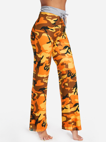 Yoins Orange Camouflage Drawstring Waist Active Bottoms