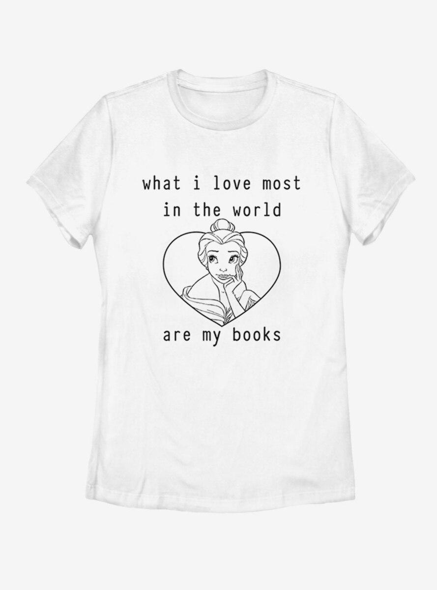 Disney Beauty and The Beast I LOVE BOOKS Womens T-Shirt