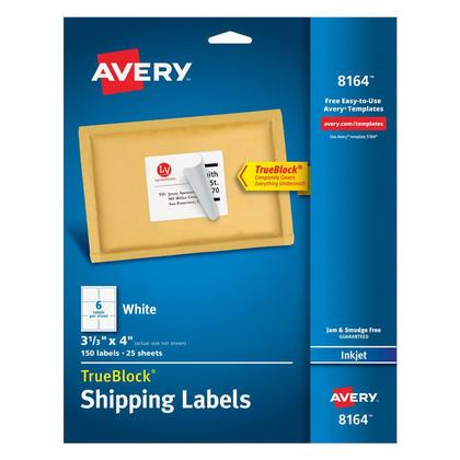 Avery@ TrueBlock@ etiquettes d'adresse blanches pour imprimantes jet d'encre - 4 x 3-1/3