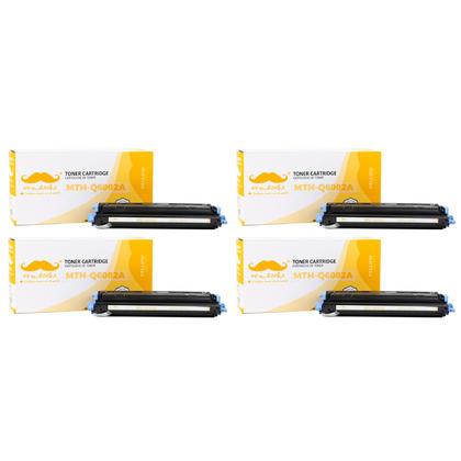 Compatible HP 124A Q6002A Yellow Toner Cartridge - Moustache - 4/Pack