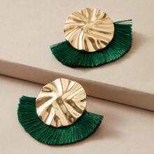 1pair Textured Fan Tassel Decor Earrings