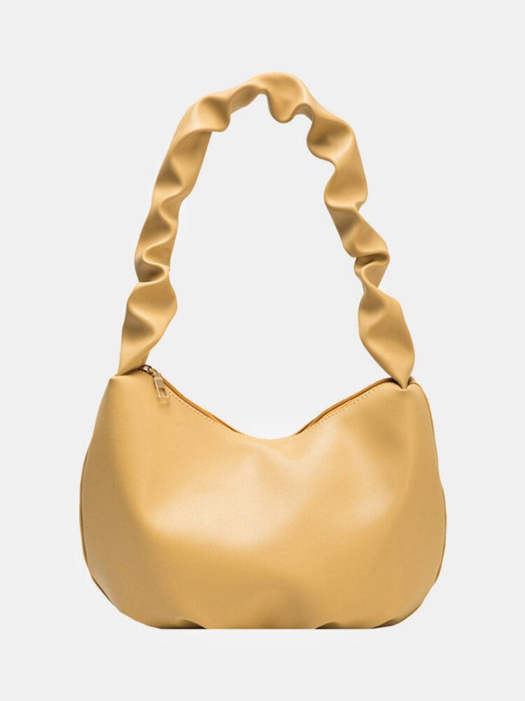 Women Pleated Large Capacity Dumpling Bag Shoulder Bag Handbag