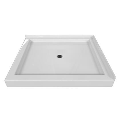SBDT-4236-LT-WHT Double Threshold White Acrylic Center Drain Shower Base Left Hand