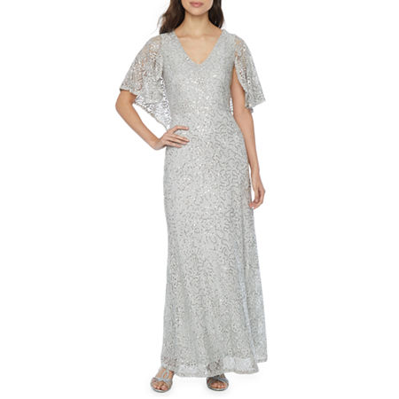 Blu Sage Short Sleeve Sequin Lace Evening Gown, 6 , Silver