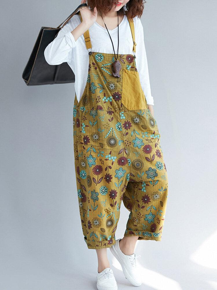 Vintage Flower Print Patched Strap Drop Crotch Jumpsuit with Pockets