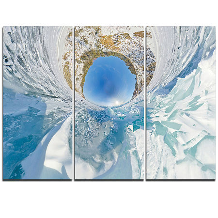 Designart Blue Ice Hummocks Baikal Little PlanetLandscape Artwork Triptych Canvas, One Size , Blue