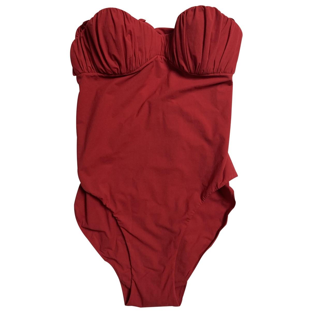 Carine Gilson \N Red Cotton - elasthane Swimwear for Women 36 FR
