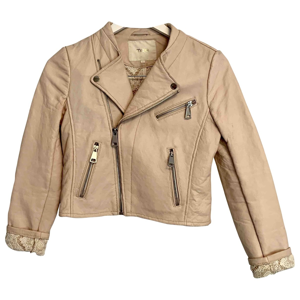 Maje \N Pink Leather Leather jacket for Women 36 FR