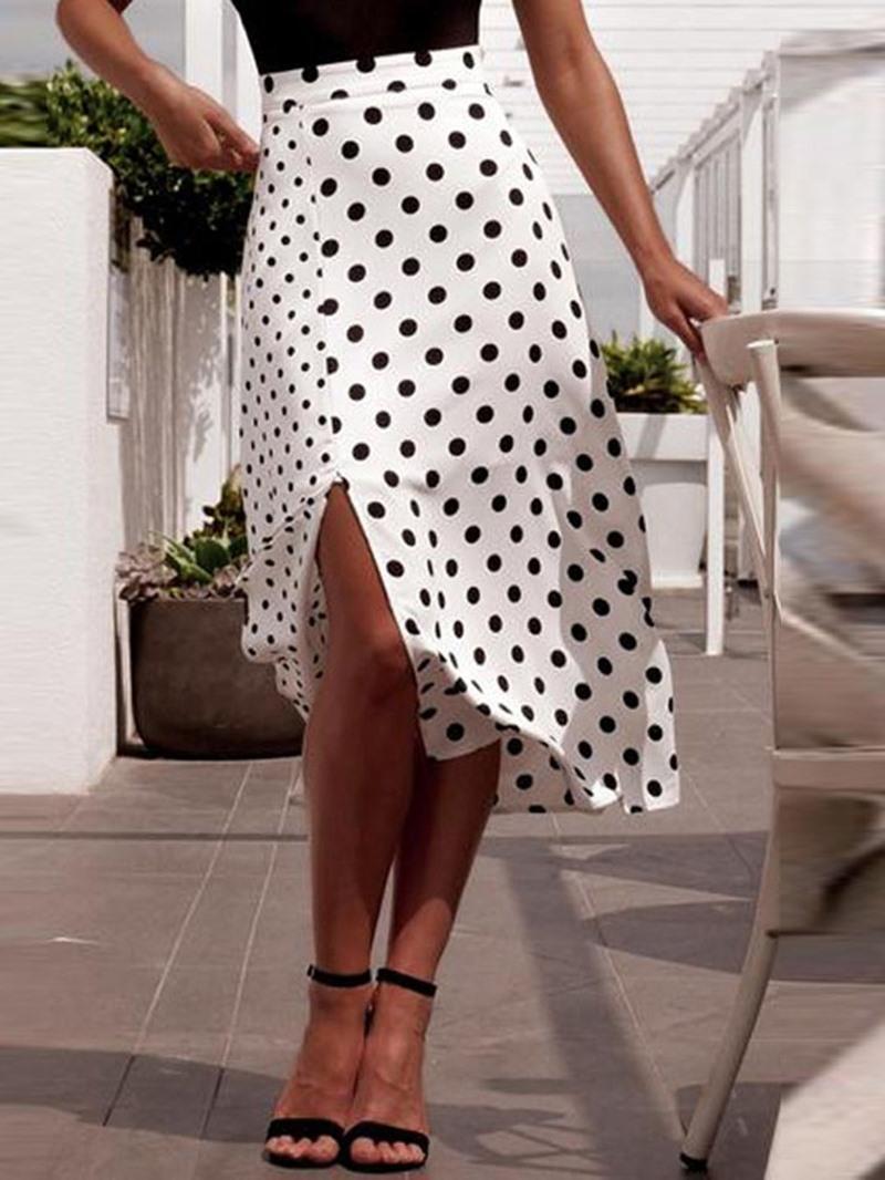 Ericdress Asymmetrical Polka Dots Mid-Calf Fashion High-Waist Skirt