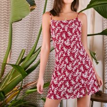 Kleid mit Reissverschluss hinten und ueberallen Blumen Mustern