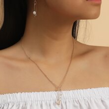 3 piezas set joya con pin de seguridad con perla artificial