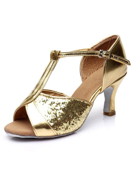 Milanoo Gold Ankle Strap Glitter Ballroom Shoes for Women