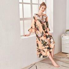 Lace Panel Tropical Print Ruffle Trim Night Dress