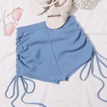 Drawstring Rib-knit Shorts