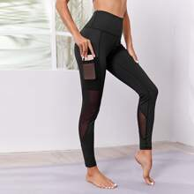 Solid Mesh Insert Sports Leggings With Phone Pocket