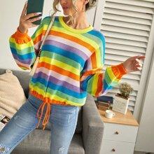 Ziehbaendchen Regenbogenstreifen Laessig Pullover