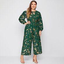 Culotte Jumpsuit mit Blumen Muster und Schluesselloch Kragen