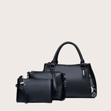 3pcs Snakeskin Graphic Satchel Bag With Crossbody Bag