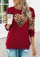 Leopard Heart Splicing T-Shirt Tee - Red