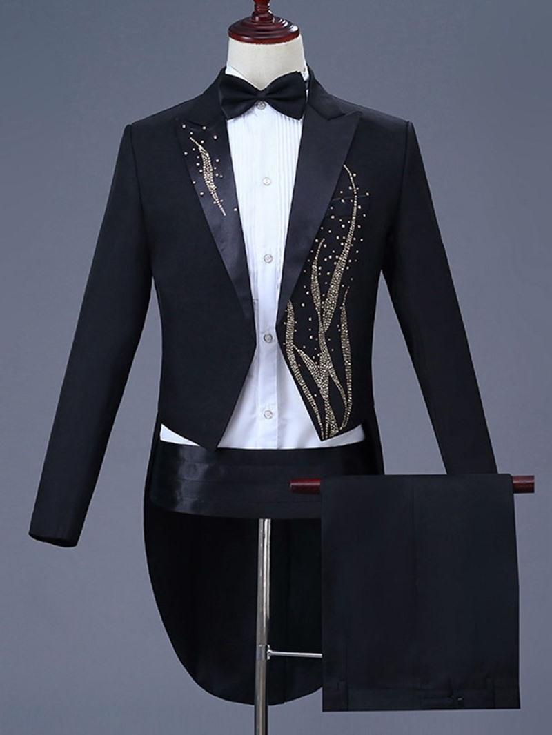 Ericdress Floral Diamond Blazer & Pants Mens Casual Party Dress Suit